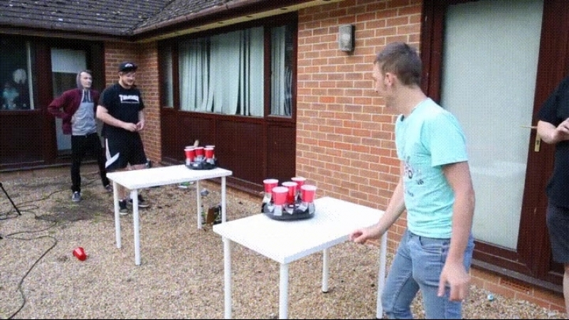 Beer pong taken to another level