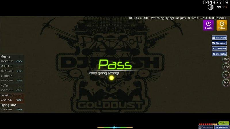 Osu!   FlyingTuna   DJ Fresh - Gold Dust [Insane] HDDT 99.29% FC 3 417pp