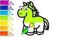 Рисуем и раскрашиваем лошадку для детей   Учим цвета на русском   Уроки рисования
