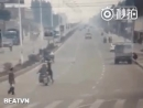 Insurance scammer nearly costs a husband and wife on a motorcycle their lives.