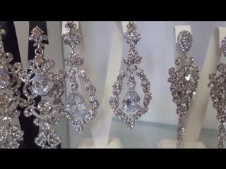 Длинные серьги люстры с кристаллами Swarovski