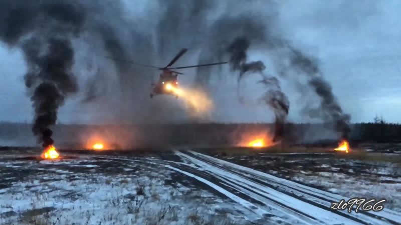 Тренировка на «жаровни» (костры)Ми-8