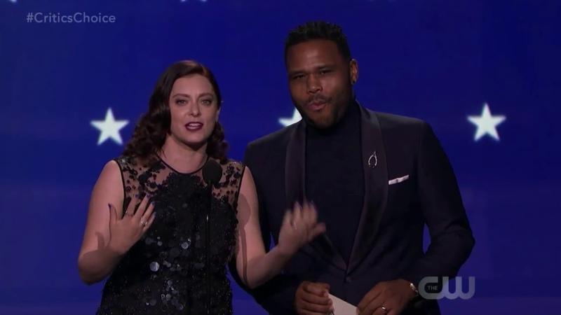 Rachel Bloom Anthony Anderson present at the 2018 Critics' Choices Awards on the CW