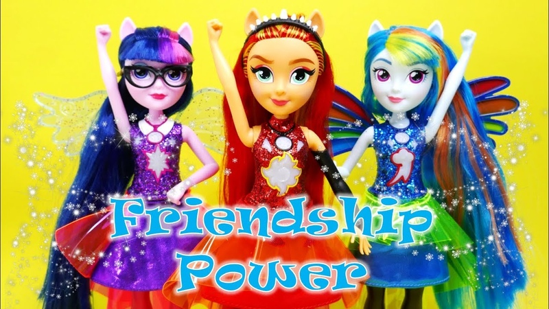 Friendship Power Transform Sunset Shimmer Twilight Sparkle Rainbow Dash Doll Play Review
