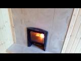 Банная печка с выносной топкой.