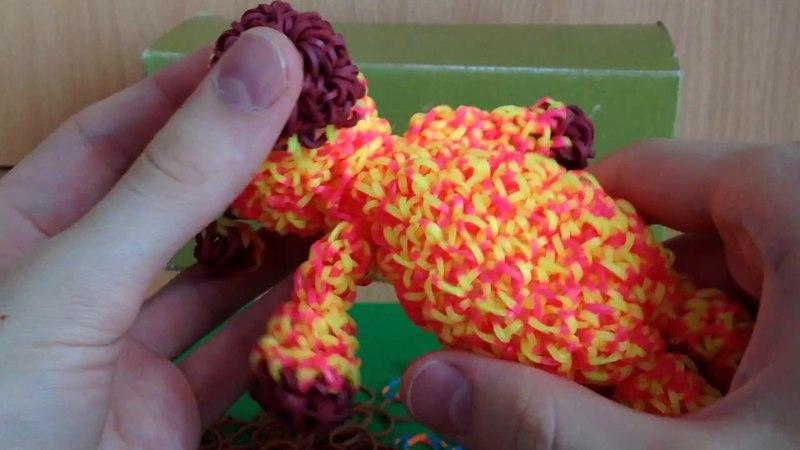 Жираф 1 часть из резинок воздушными петлями на крючке Rainbow Loom