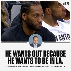 Stephen A. Smith didn't hold back on Kawhi's reported desire to leave San Antonio