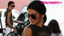 Kendall Jenner Pumps Gas In Beverly Hills Wearing Lynyrd Skynyrd Shirt 5.10.15 - TheHollywoodFix
