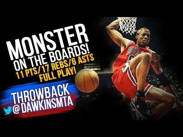 Dennis Rodman DEFENSIVE Offensive Play 1998 ECR1 GM3 at Nets - 11 Pts, 17 Rebs, 6 Asts! MONSTER!