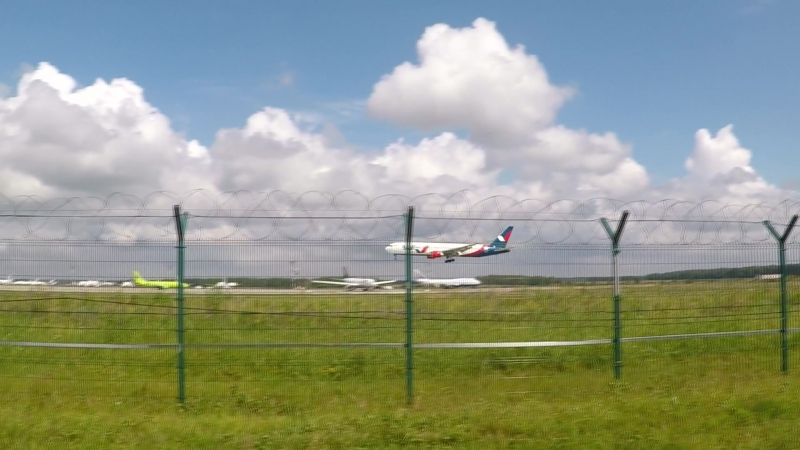 Boeing 767-300 Azur Air (VQ-BSX) Landing in Domodedovo airport on runway 32L