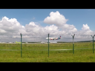 """Boeing 767-300 """"azur air"""" (vq-bsx) landing in domodedovo airport on runway 32l"""