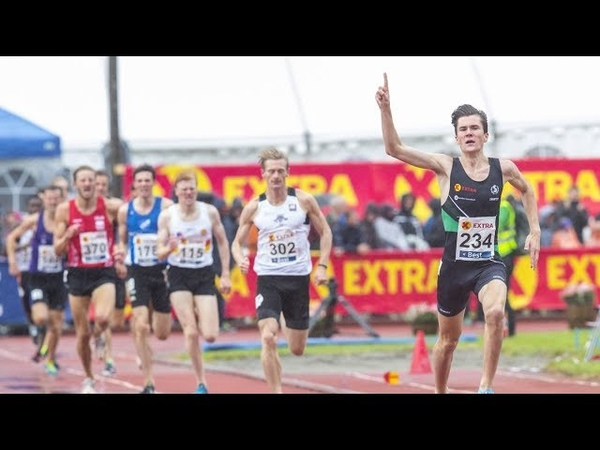 Jakob Ingebrigtsen wins 1500m in crazy weather at Norwegian Championships 2018