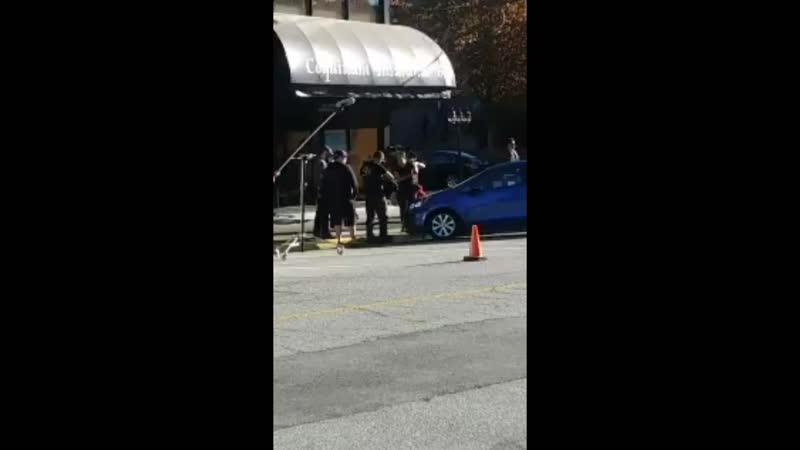 @yvrshoots @WhatsFilming. melissa benoist.. Nicole maines and Jesse rath get out of car