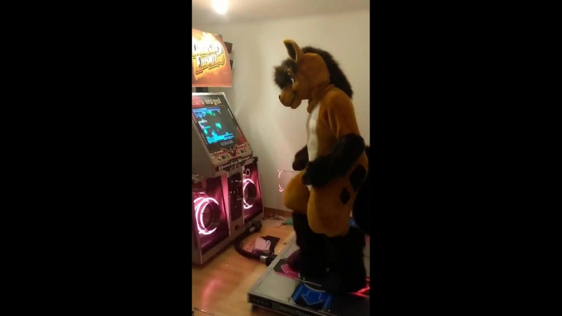 Playing DDR in Fursuit is hard - Not, its not.
