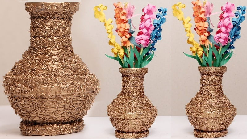 Amazing Diy Using Newspaper And Rice Make A Flower Vase diycrafts