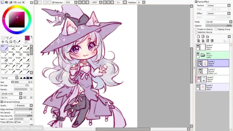 【Speedpaint】 Feather Witch (Chibis Week 1_7) (как рисовать аниме в саи. чиби)