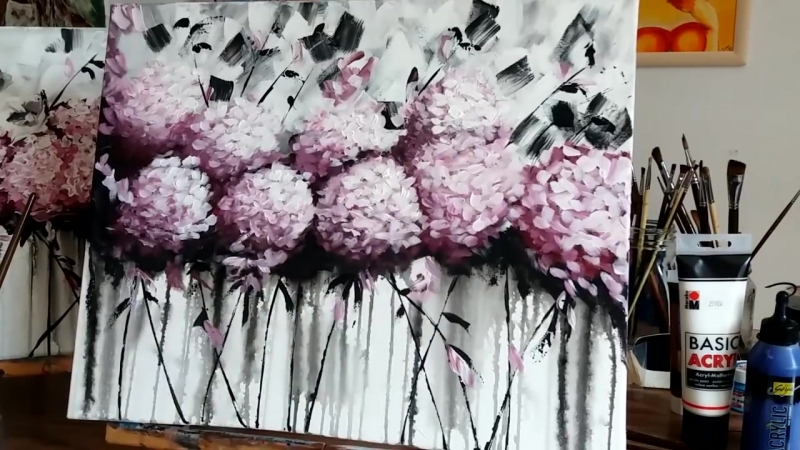 4 Hogyan festhetünk akrillal absztrakt Hortenziákat Magyar