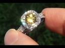 HGT Certified VVS Natural UNHEATED Yellow Sapphire Diamond 14k Gold Engagement Ring - C762