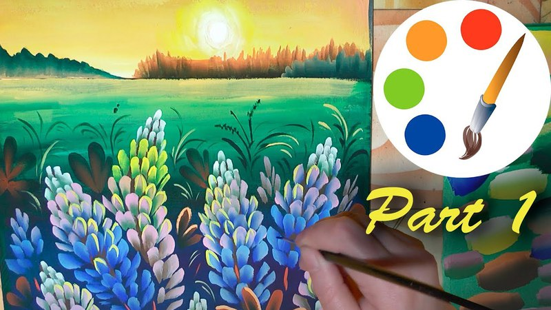 Sunset with lupines, Painting the landscape, part 1, painting by a flat brush
