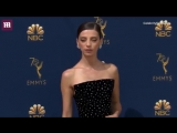 Oh so chic! Angela Sarafyan arrives at 2018 Emmys red carpet