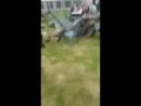Lad puts his mate through a garden table