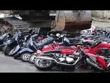 President Rodrigo Duterte witness the destruction of scooters!