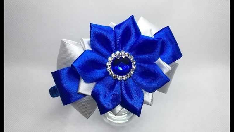 Украшение на ободок Канзаши Двухцветный бант с цветком