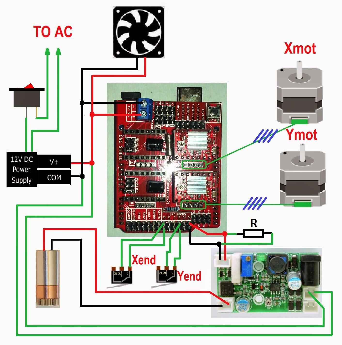 Схема подключения cnc shield v3.0 + arduino uno + TTl и лазер
