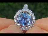 Natural Blue Ceylon Sapphire &amp Diamond White Gold Ring GIA Certified VVS Clarity - A141534