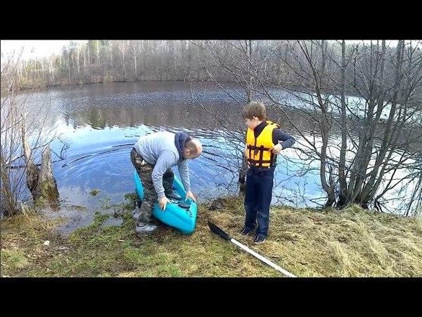 самодельный каяк с мотором.испытания./homemade kayak with motor.tests.