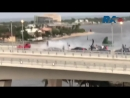 In Florida Ford Mustang arranged drift on the bridge