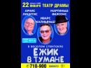 "2 билета на спектакль ""Ежик в тумане""  22 января 2018 г. Театр Драмы"