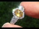 GIA Certified UNHEATED Natural Yellow Sapphire Diamond 18k White Gold Engagement Ring C502