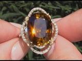 GIA Certified 13.85 tcw VVS Clarity Top Gem Orange Tourmaline &amp Diamond Cocktail Ring 14k Gold C930