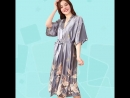 Plus Size Crane Print Satin Robes