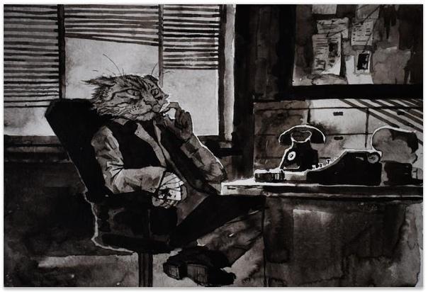 История одного кота. (1 глава) Собачья жалость Детектив Бар Чеширски сидел за столом и молча рассматривал свою черную лапу. Наспех перебинтованная, она так и не переставала болеть, раздражая