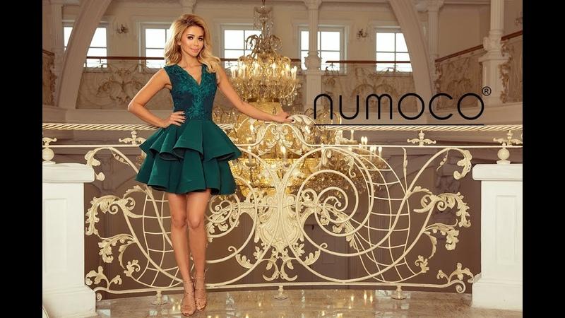 200-6 CHARLOTTE - ekskluzywna sukienka z koronkowym dekoltem - numoco