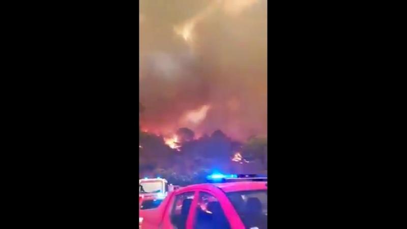 Природный пожар вблизи поселка Моншики Португалия 6 Августа 2018