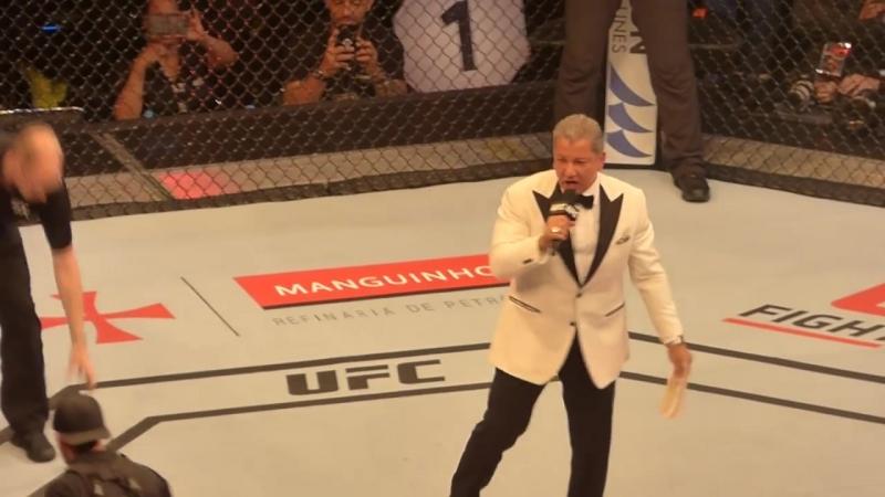 Bruce Buffer José Aldo e Holloway - UFC 212 Rio