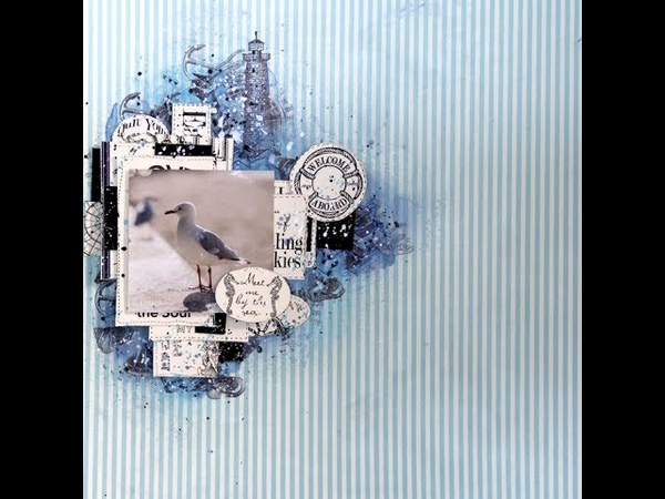 Meet me by the Sea Mixed Media Scrapbook Layout