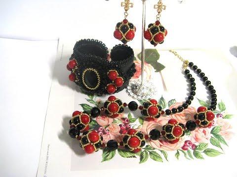 Комплект украшений из коралла и черный агата. Классическое сочетание красного и черного.