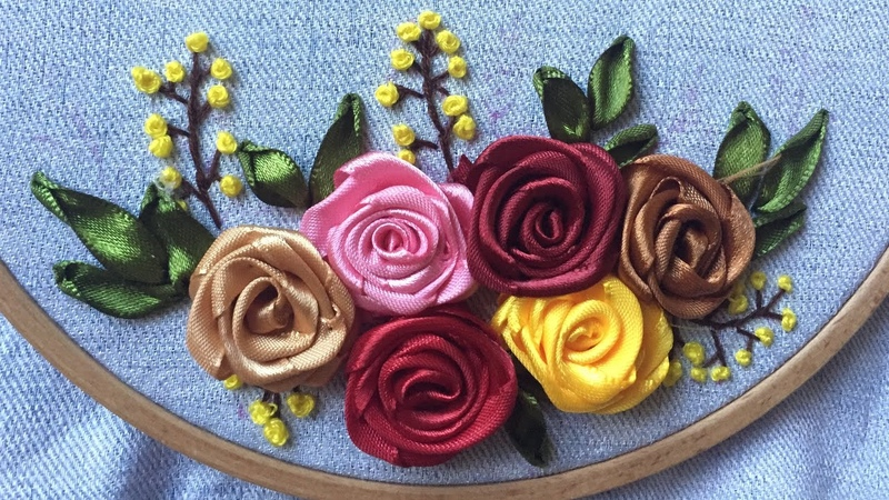 D.I.Y Ribbon Embroidery Rose Hướng dẫn thêu ruy băng hoa hồng