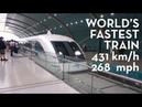 Shanghai Maglev @ 431km/h (268mph) World's fastest train!