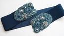 Пояс широкий темно синий Круги на воде резинка на платье вышитый