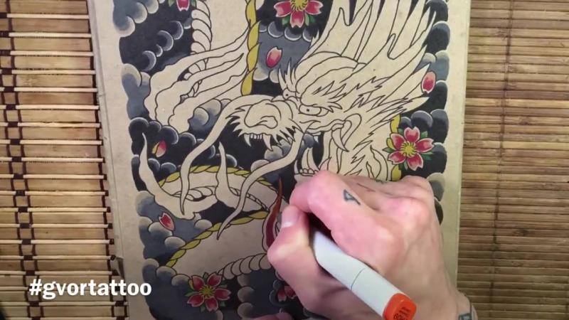 Как я рисую. Японский дракон. Рисование эскизов тату