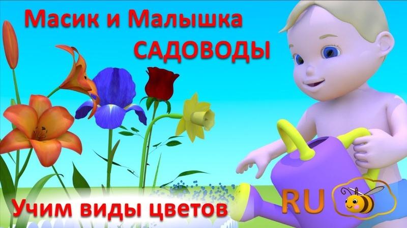 Масик и малышка садоводы. Учимся с Масиком и Малышкой. Учим цветы мультик для детей