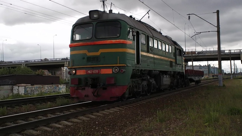 Тепловоз М62-1628 с вагоном