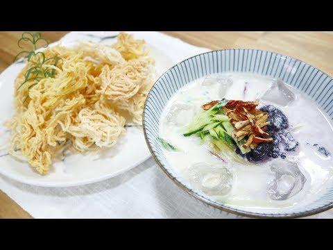 두부 냉콩국수와 국수과자 ( Noodles in Cold Soybean Soup )