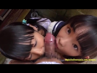 Petite JAV Teen Schoolgirls Rina and Asami Give Public BJ