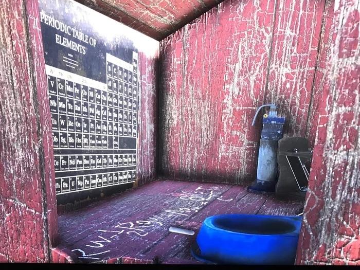 Игрок в Fallout76 заглянул в первую случайную собачью будку и обнаружил таблицу Менделеева.